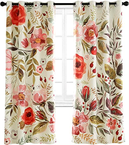 Riyidecor Floral Blackout Curtains Spring Roses Shabby Chic Flowers Printed Artwork Pedals Dots Leaves Season Buds Living Room Bedroom Window Drapes Treatment Fabric 2 Panels 52 x 63 Inch