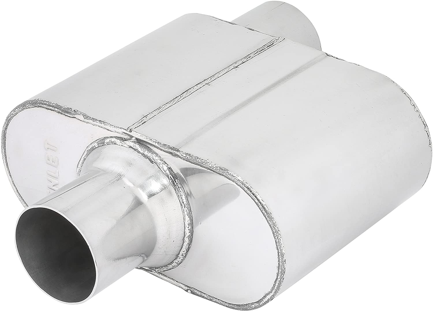 TOTALFLOW Polished 542512 409 Stainless Steel Single Chamber Universal Muffler Center in 2.5 Offset Out