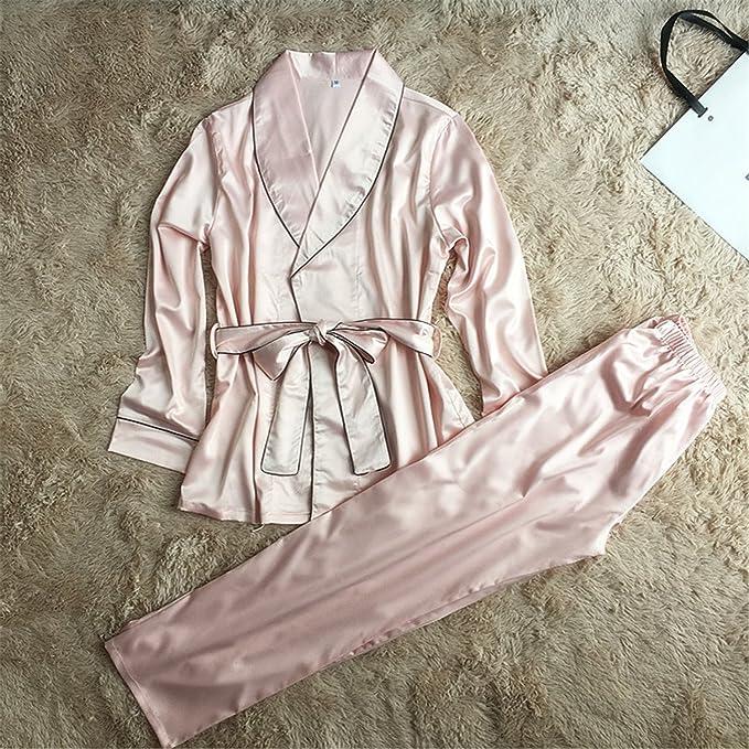 Amazon.com: Satin Women Pajamas Autumn Ladies Pijama Long Sleeve Silk Pajamas Sets Pyjama Nightwear with Long Pants Hot: Clothing