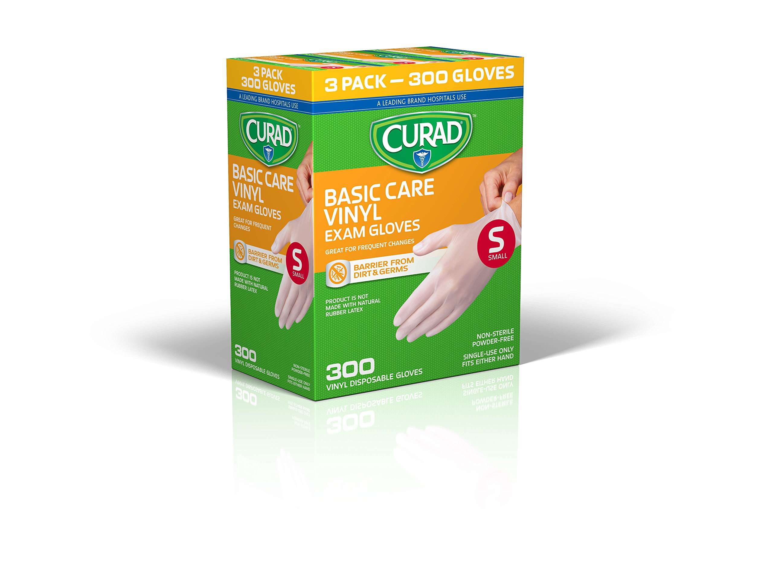 CURAD Basic Care Vinyl Disposable Exam Gloves, Small (Pack of 300)
