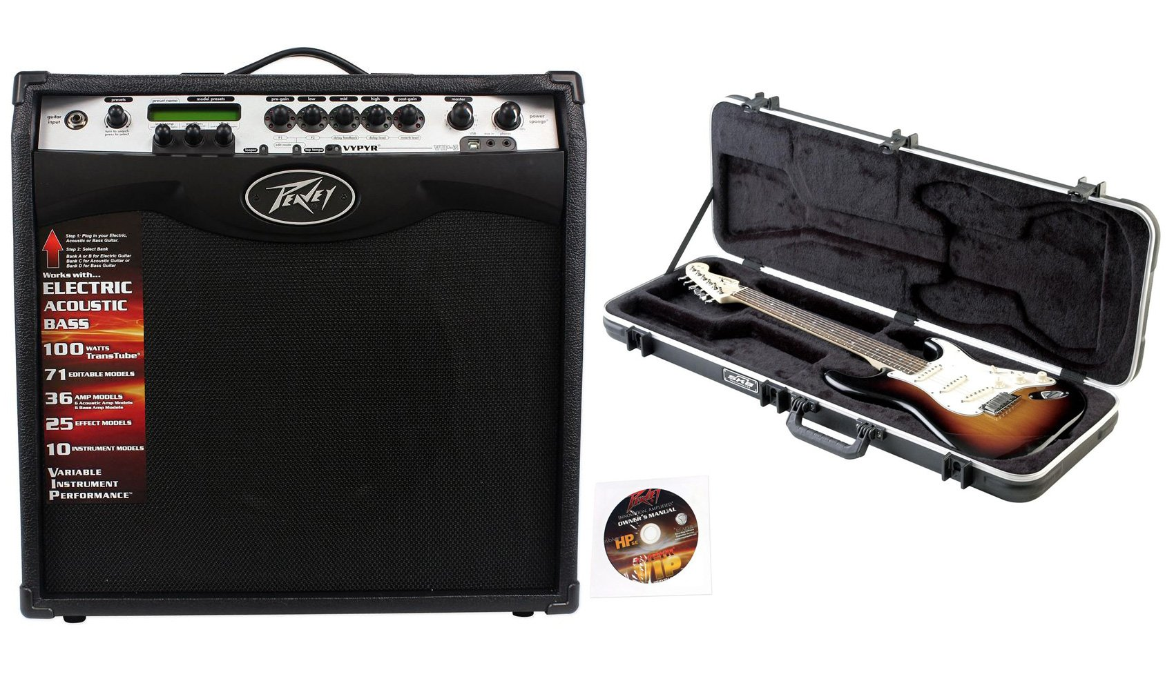 Package: Vypyr VIP 3 12'' 100 Watt Guitar and Bass/Acoustic/Electric Amplifier All In One with Amp Modeling and Bi-Directional USB Input by Peavey