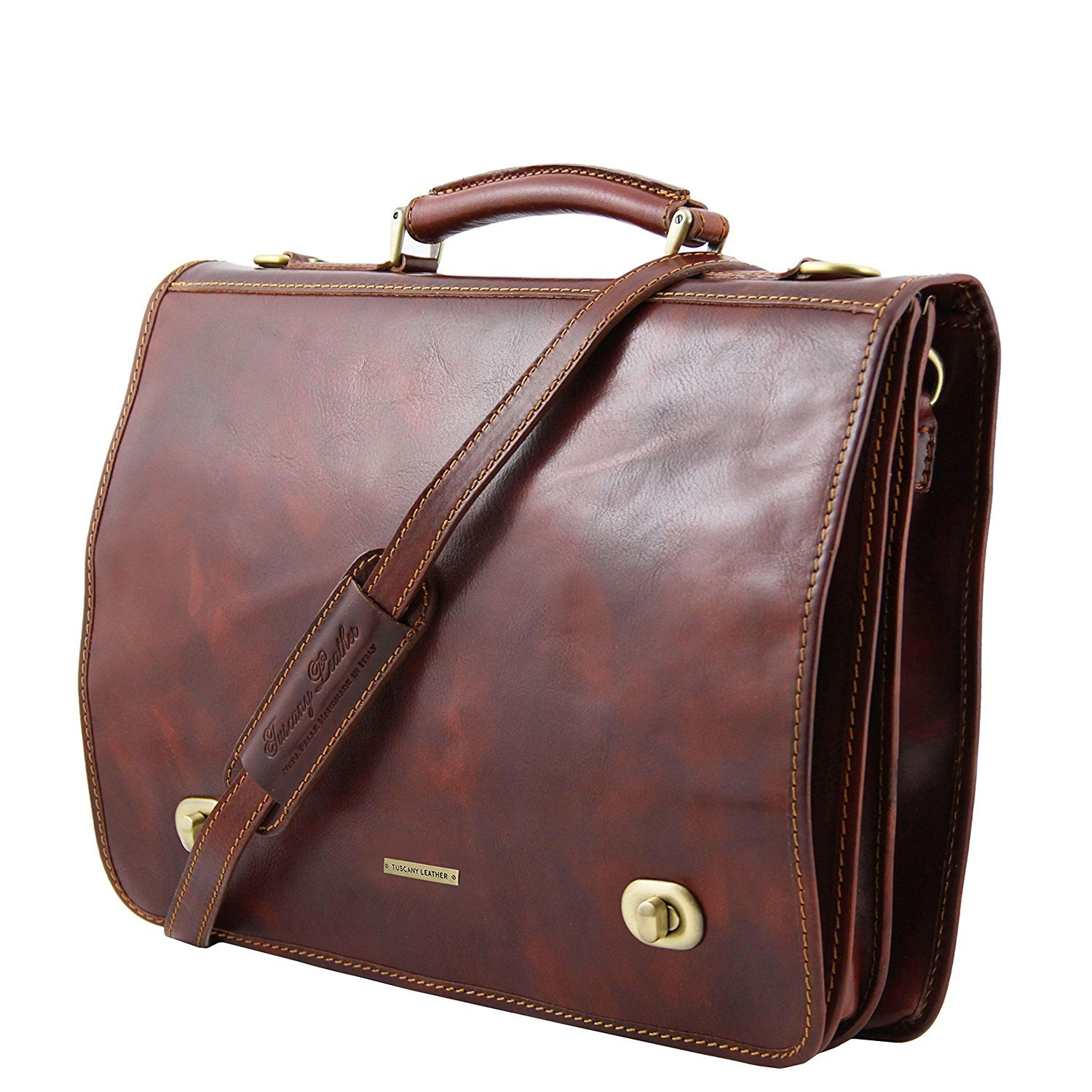 Siena Leather messenger bag 2 compartments Dark Brown TL10054//5 Tuscany Leather