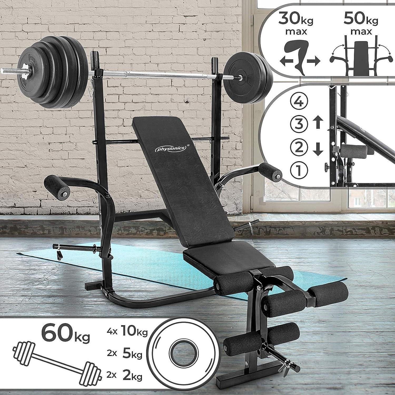 Physionics - Banco de pesas con barra larga y 8 discos de 60 kg en ...