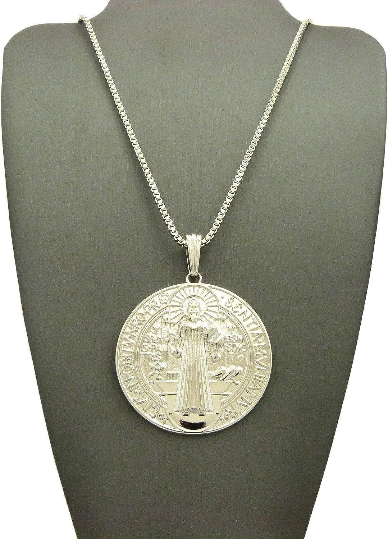 Religious Saint Benedict of Nursia Pendant 24 Various Chain Necklace in Silver Tone