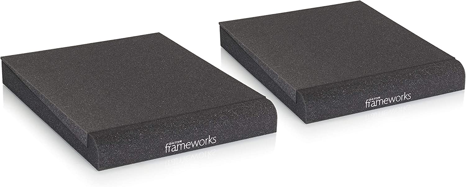 Gator Frameworks Acoustic Foam Isolation Pads for Medium Studio Monitors, Fits Most Speaker Stands, Desktops and Bookshelfs; 2-Pack (GFW-ISOPAD-MD)