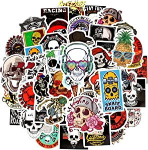 Waterproof Punk Vinyl Laptop Stickers Car Decals for Teens Adults (50Pcs Skull Style)