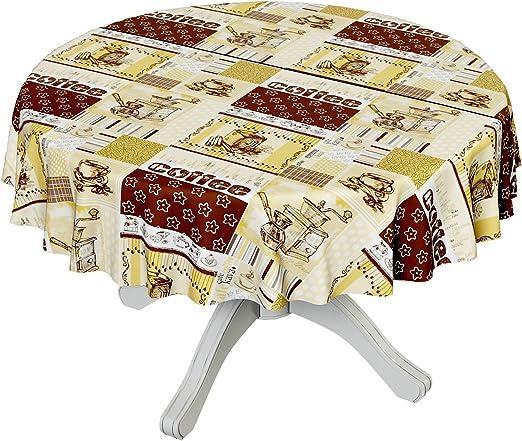 Hule de plástico, mantel para mesa lavable, de color café, motivo ...