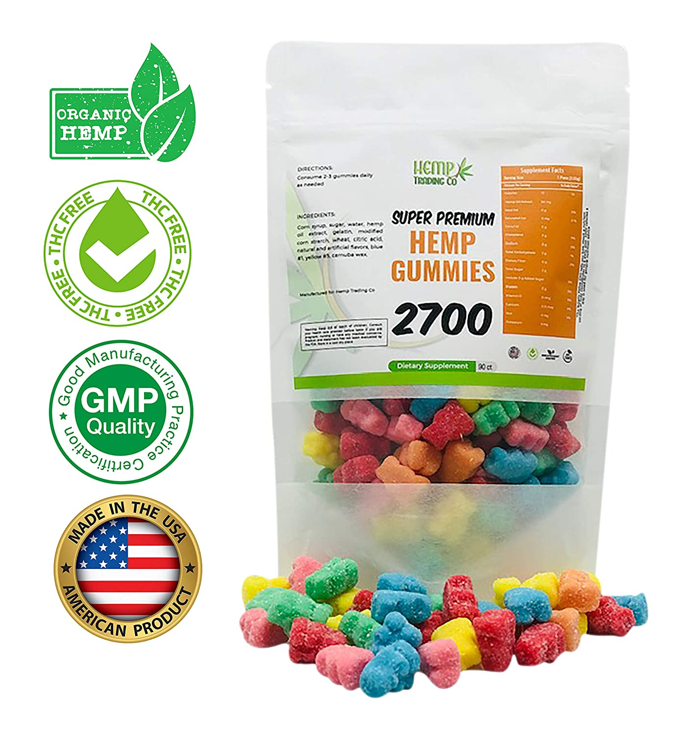 Hemp Gummies 2700 mg 90 ct | Bursting with USA Grown Organic Hemp Extract  and Vitamins |