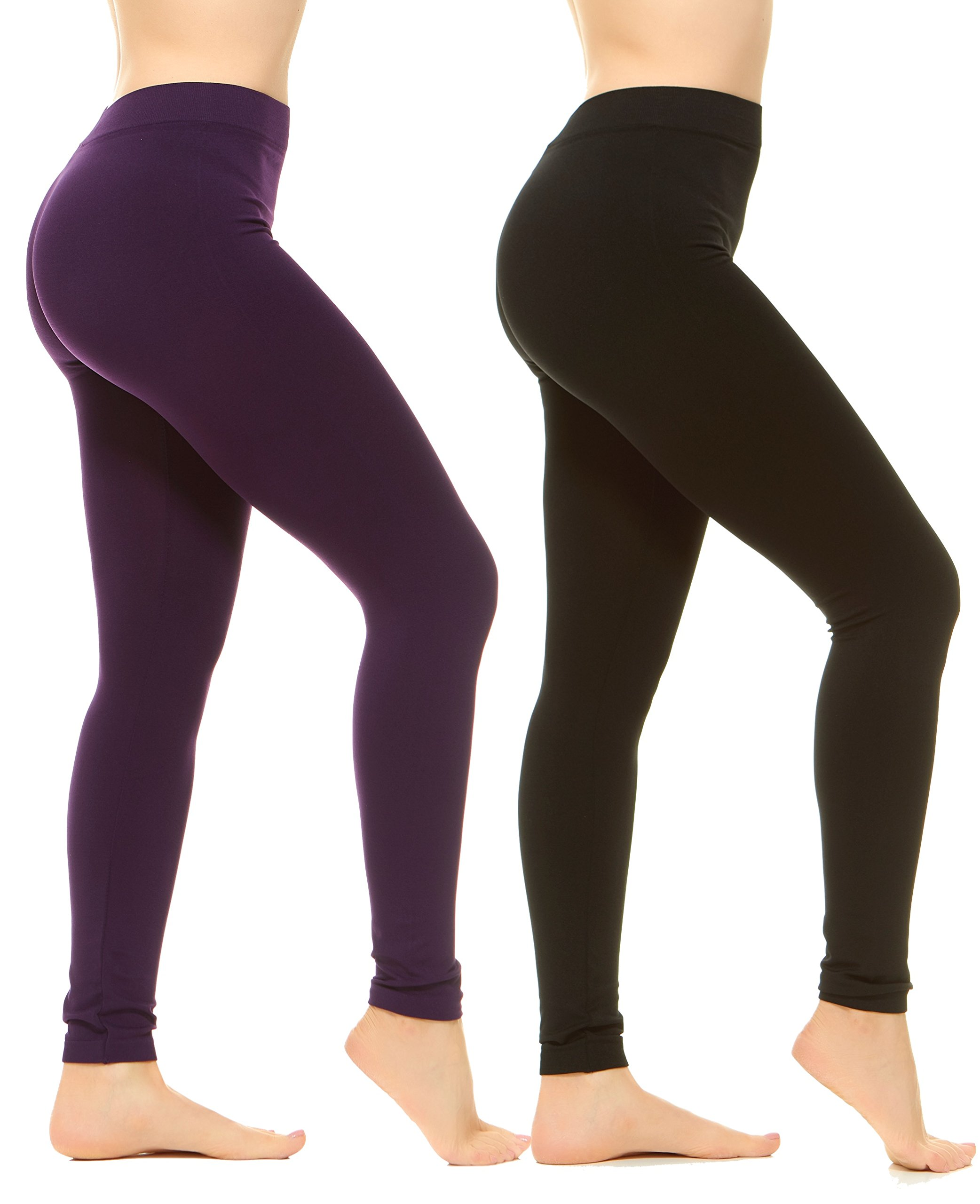 Unique Styles High Waist Leggings for Women Soft Yoga Pants Ribbed Waistband (Plus Size, 2-PK: Black, Purple)