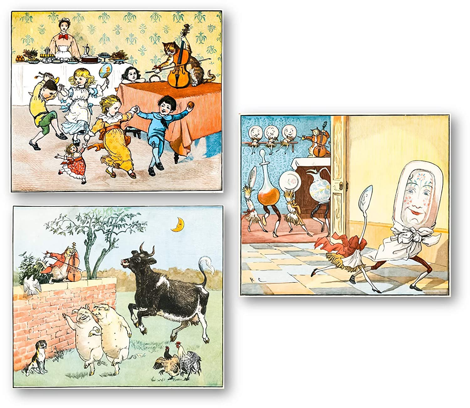 Ramini Brands Babies Rooms Wall Decor Art Drawings - Set of 3 8 x 10 Unframed Prints - Hey Diddle Diddle The Cat and The Fiddle Nursery Rhyme - Great Gift for Baby Showers