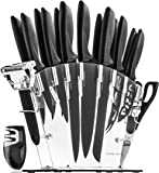 Stainless Steel Knife Set with Block - 13 Kitchen Knives Set Chef Knife Set with Knife Sharpener 6 Steak Knives Bonus Peeler Scissors Cheese Pizza Knife & Acrylic Stand - Best Cutlery Set Gift