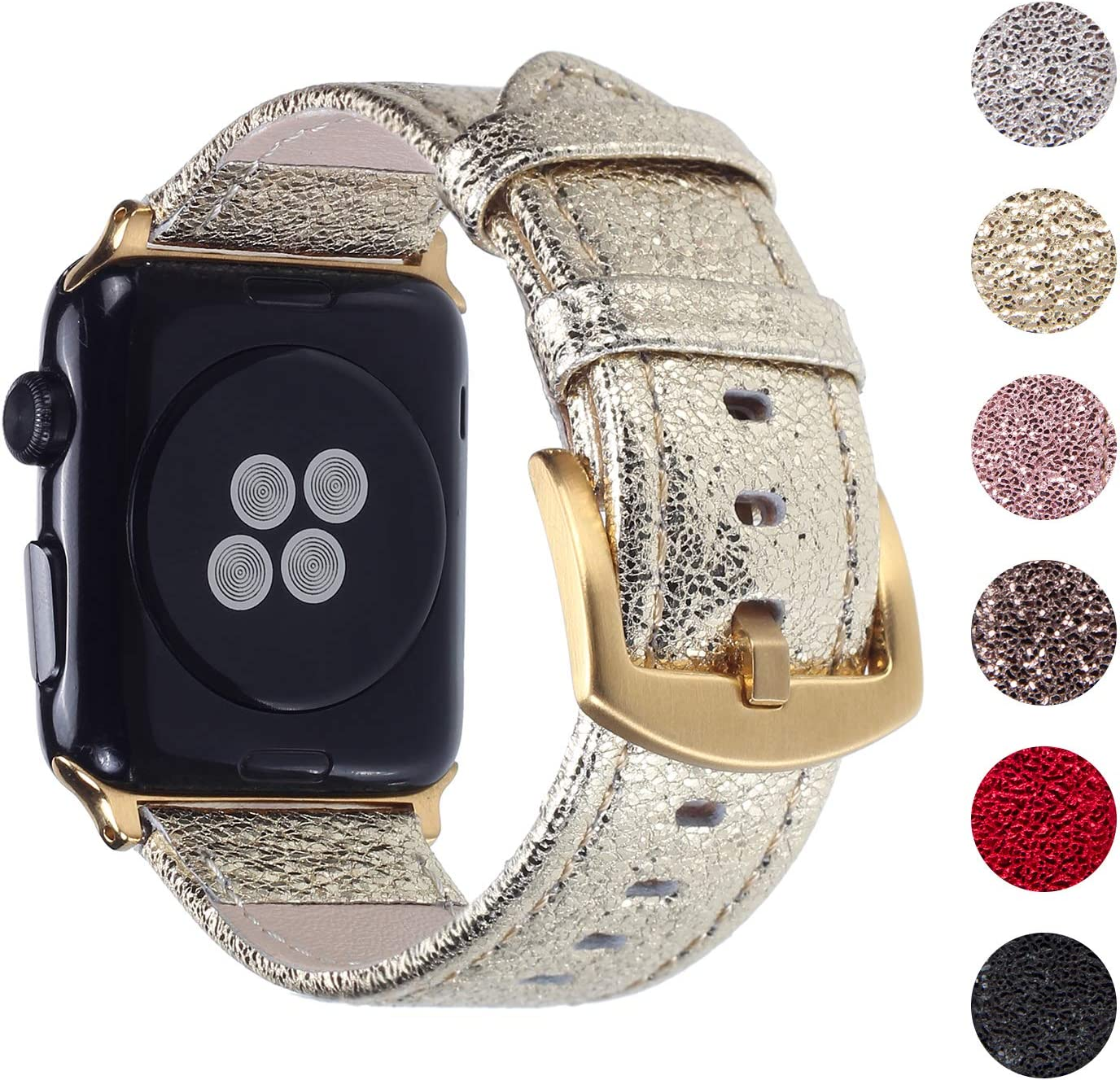 Pantheon Compatible Apple Watch Band 44mm / 42mm Shiny Leather Glitter Bands for Women - Series SE 6 5 4 3 2 1 - Shiny Gold