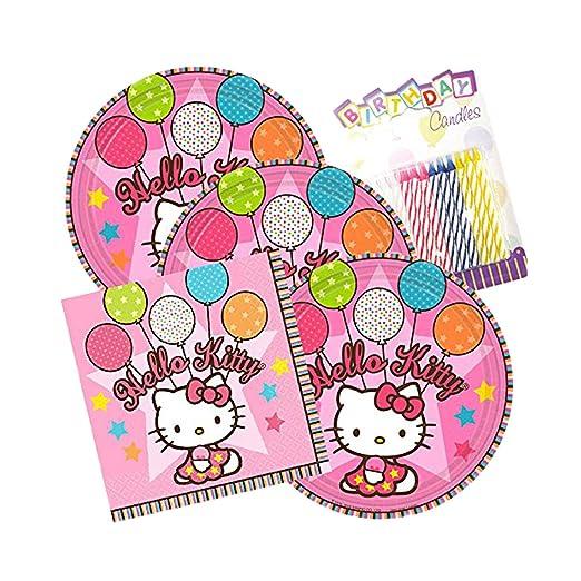 Hello Kitty - Juego de 16 platos y servilletas con velas de ...