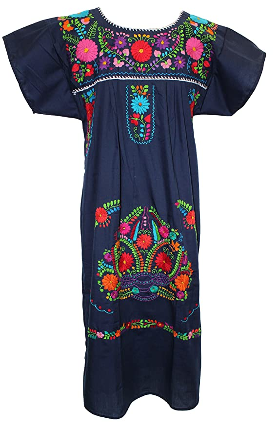 Womens Puebla Mexican Dress Navy Blue At Amazon Womens Clothing