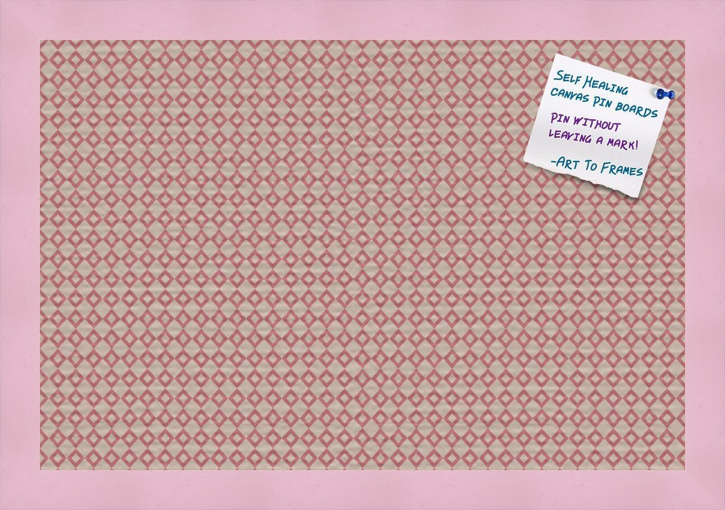 PinPix decorative pin cork bulletin board made from high quality canvas, Vintage Patterns printed at 18x12 Inches and framed in Baby Pink Stain on Beech (PinPix-290)