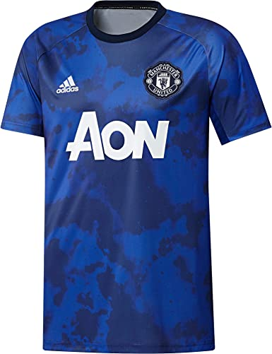 Amazon Com Adidas 2019 2020 Man Utd Pre Match Training Football Soccer T Shirt Jersey Mystery Ink Sports Outdoors