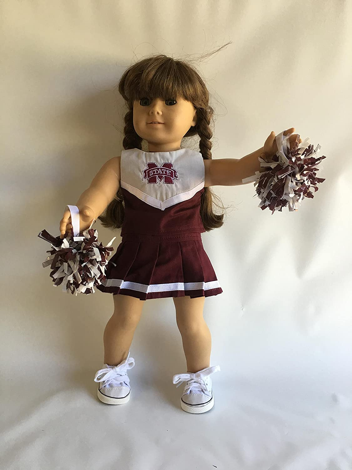 18' Doll Cheerleading Outfit - Maroon and White for University of Ms
