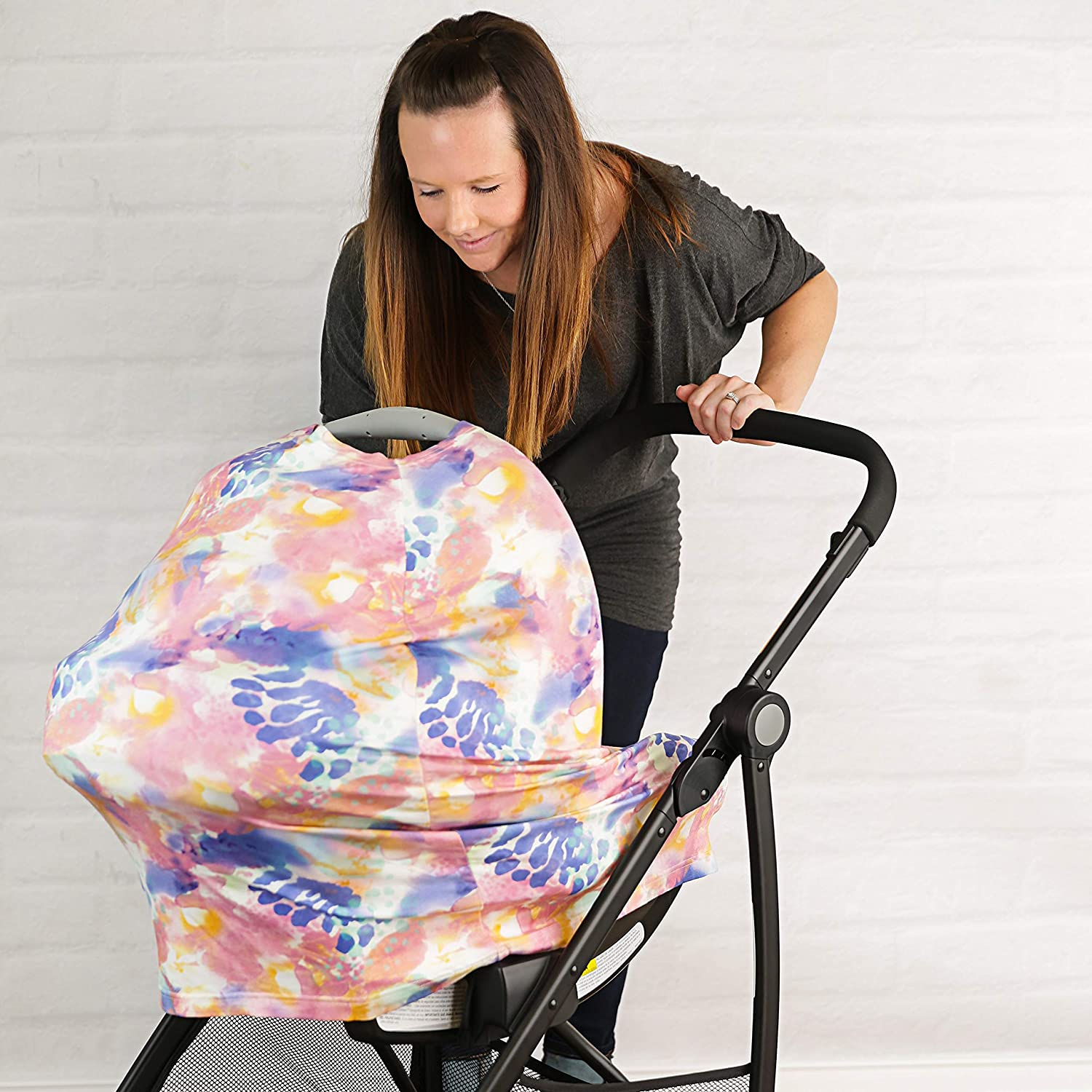 Car Seat Canopy Stroller and Carseat Covers for Girls- Best Stretchy Infinity Scarf and Shawl- Multi Use Breastfeeding Cover Up- Fleur Print Nursing Cover Shopping Cart High Chair