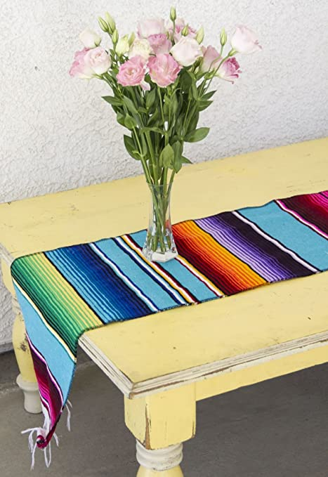 Swell Del Mex Tm Mexican Serape Blanket Table Runner Turquoise Download Free Architecture Designs Intelgarnamadebymaigaardcom