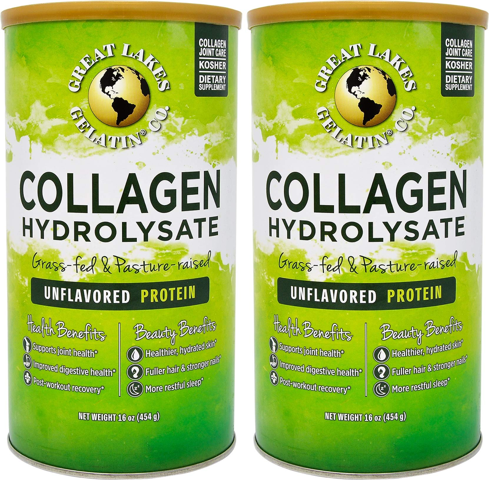 Great Lakes Gelatin, Collagen Hydrolysate, Unflavored Beef Protein, Kosher, 16 oz Cans (Pack of 2) by Great Lakes