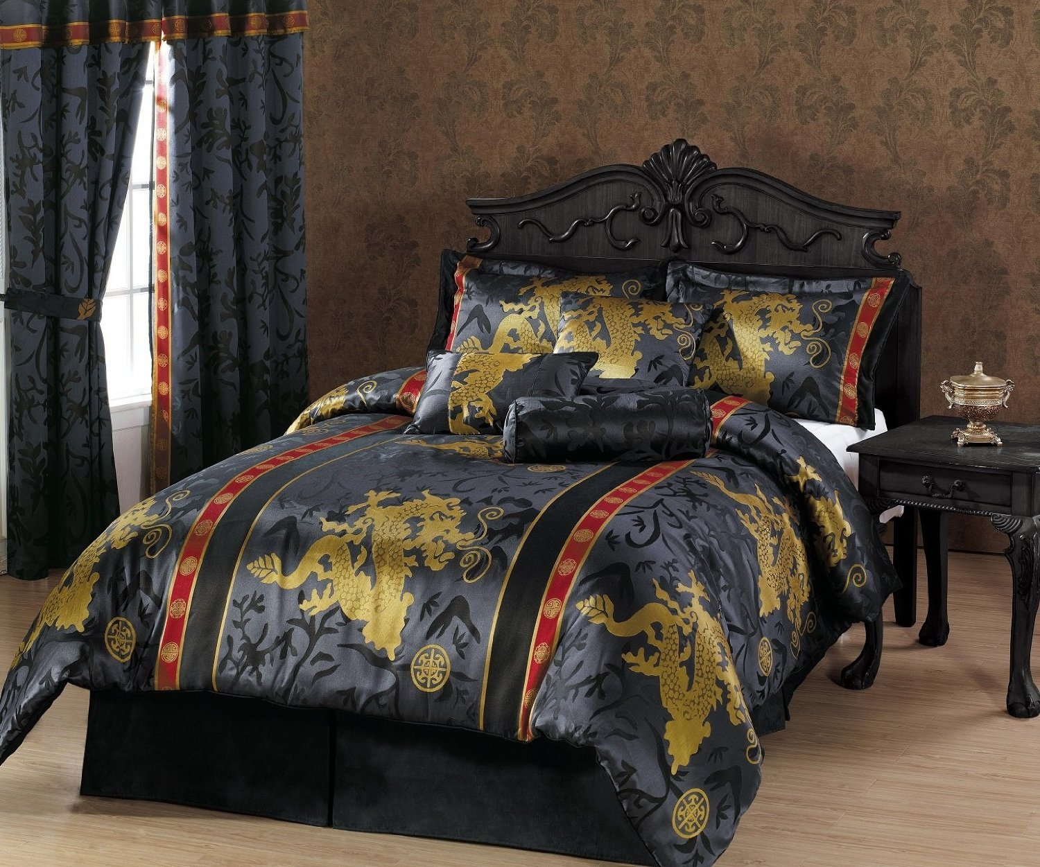 Chezmoi Collection 7-Piece Palace Dragon Jacquard Comforter Set, California/California King, Black/Gold/Red