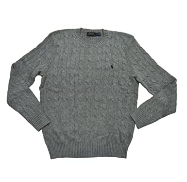 Ralph Lauren Polo Mens Pony Cable Knit Crewneck Sweater Fawn Grey
