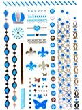 METALLIC TEMPORARY FLASH TATTOOS SILVER TURQUOISE BODY ART 6 DESIGNS [21]