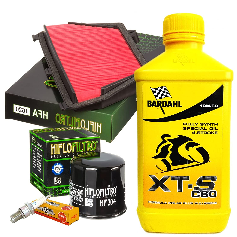 Kit Tagliando para Honda CBR 600 RR 2007/2016 Filtro Aceite hf204 - 1 Filtro Aire hfa1620 - 4 velas iridio NKG IMR9 C-9H - 4 L Bardahl XTS C60 10 W60: ...