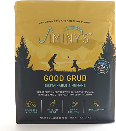 Jiminy s Good Grub Insect Protein Oven-Baked Dog Food 10 lb Bag 100 Made in The USA Gluten-Free Sustainable Limited Ingredients High Protein Hypoallergenic