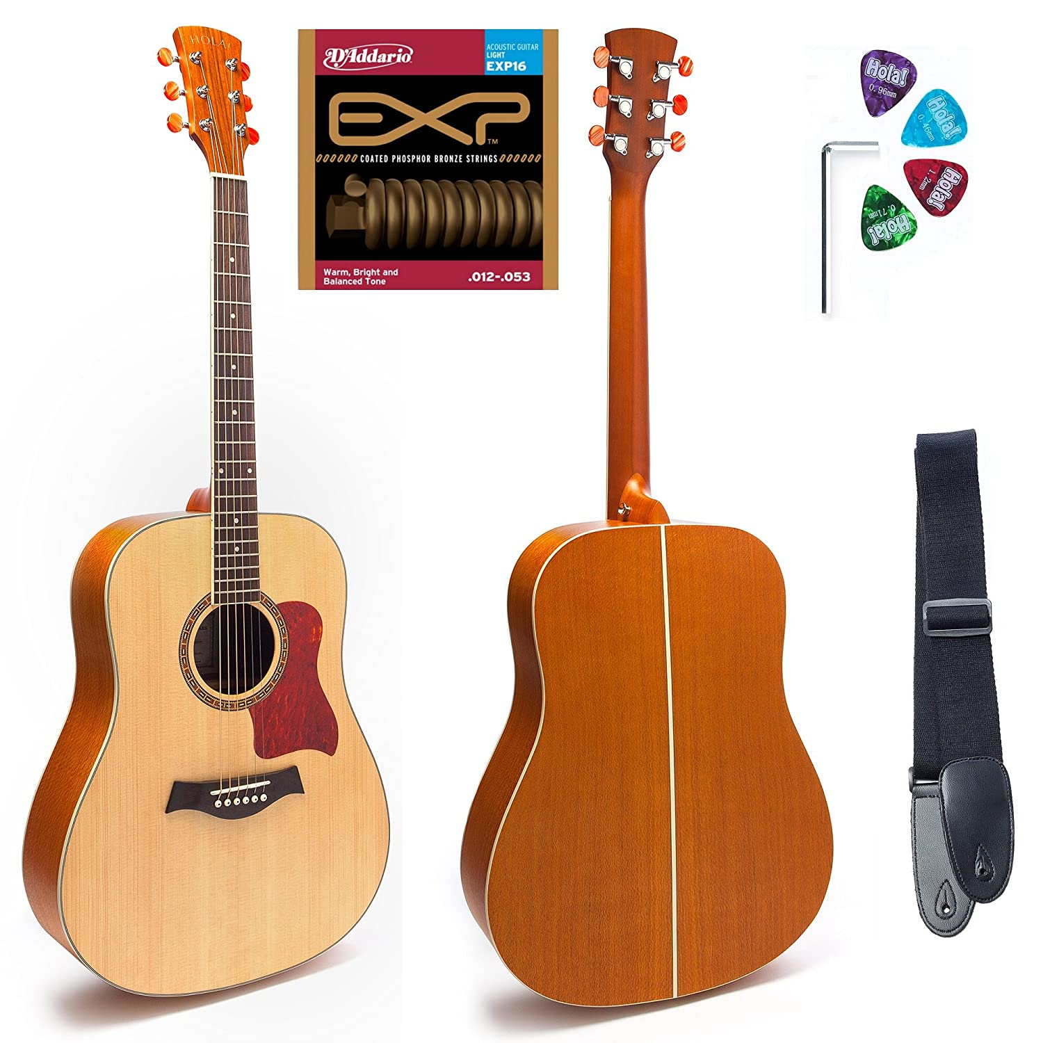 Amazon Dreadnought Acoustic Guitar SOLID Top Series by Hola