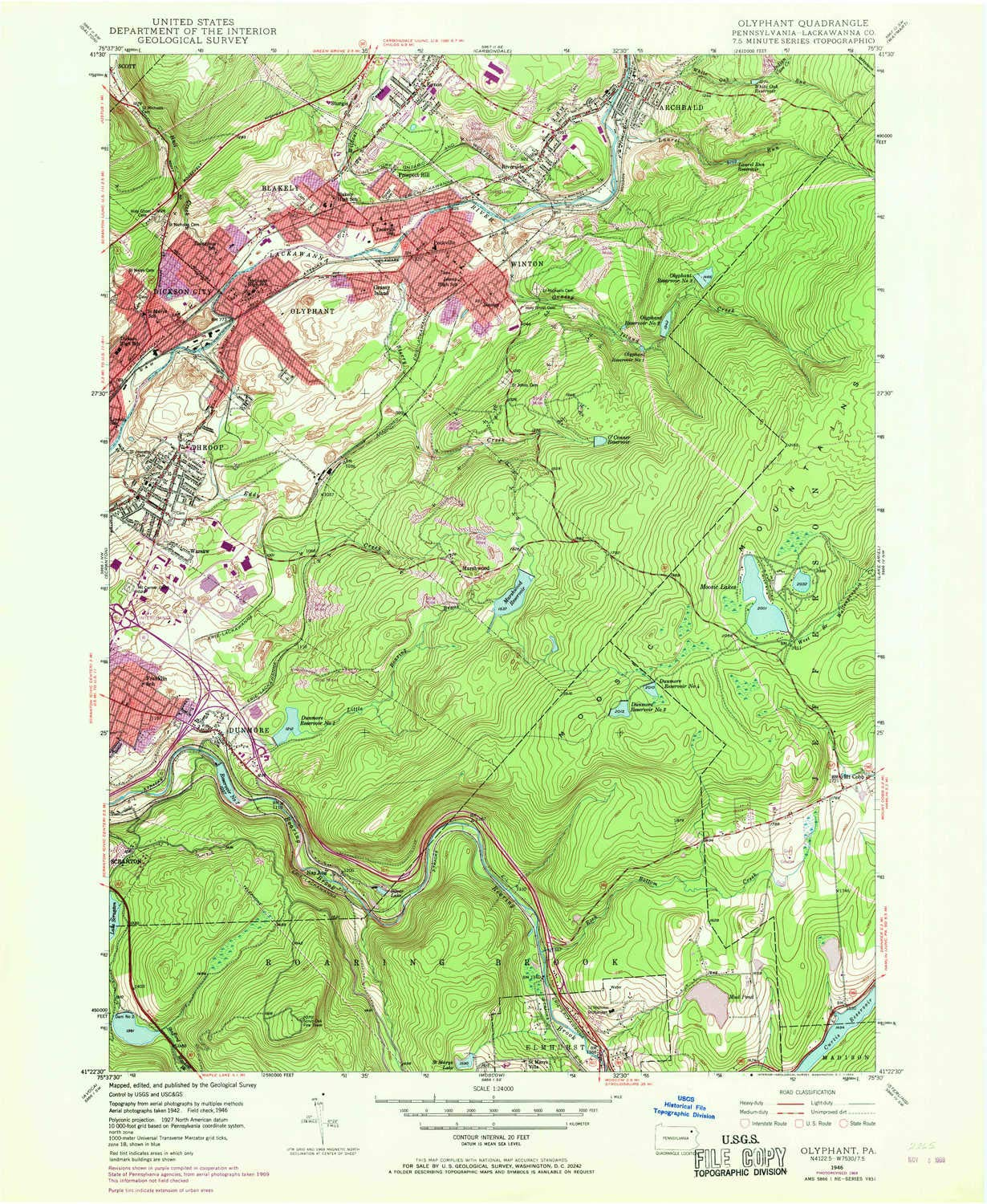 Amazon YellowMaps Olyphant PA topo map 1 Scale 7 5 X