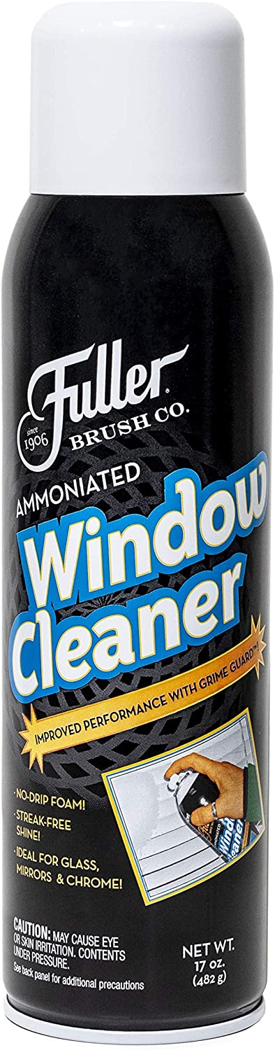 Fuller Brush Ammoniated Window Cleaner - Commercial Streak Free Foam Cleaning Spray w/ Ammonia For Crystal, Mirror & Chrome - Easy Gunk & Dust Removal For Clear Glass Doors & Windows