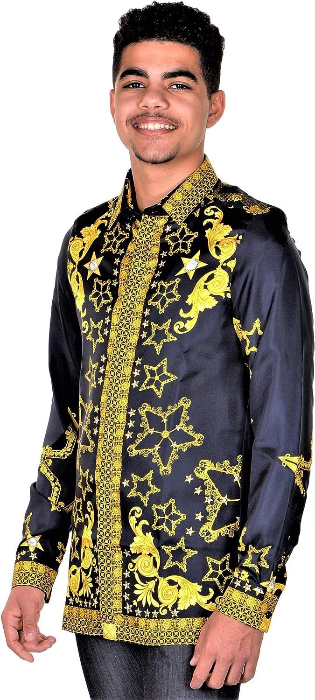 Versace Collection Mens Silk Baroque Dress Shirt Midnight Blue