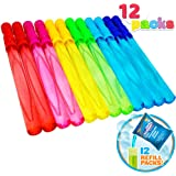 Joyin Toy 12 Pack 14'' Big Bubble Wand Assortment (1 Dozen) with Bubble Refill Solution - Super Value Pack of Summer Toy…