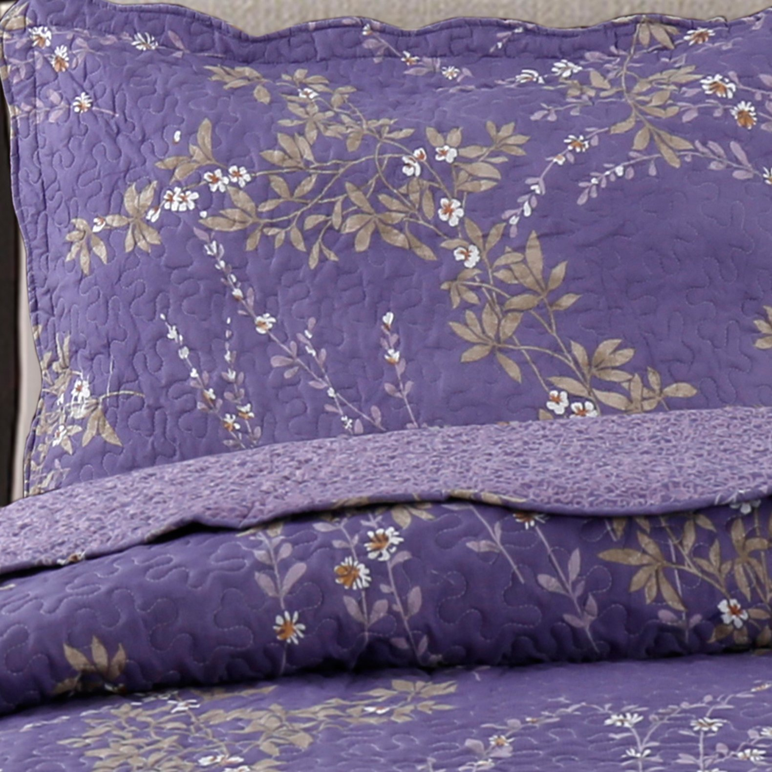 Kasentex Country-Chic Printed Pre-Washed Set. Microfiber Fabric Floral Design Quilt + 2 Shams, KING 104X90+20X36 X2, Purple by Kasentex (Image #3)