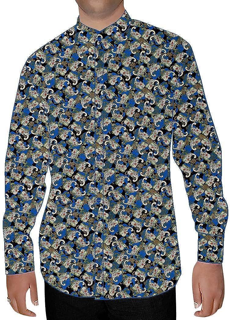 INMONARCH Mens Steel Blue Printed Cotton Shirt Floral Design NSH14497
