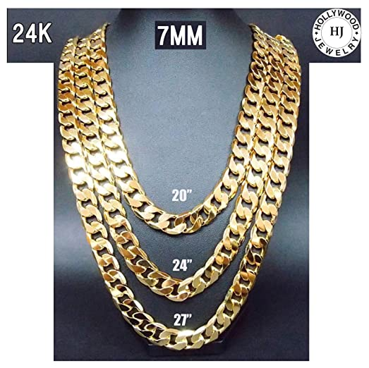 Gold Chain Cuban Necklace 7MM Miami Link w real solid clasp 24K
