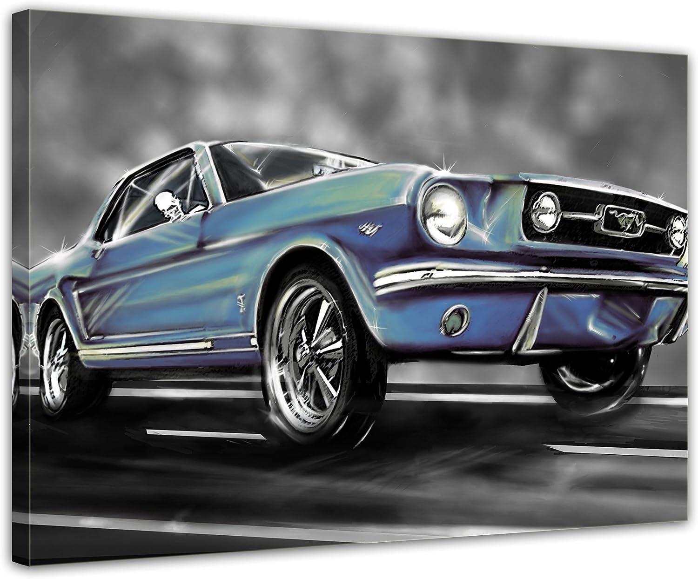 Bilderdepot24 Cuadros en Lienzo Mustang Graphic - Azul 60x50cm - Enmarcado Listo Bastidor Imagen. Directamente Desde el Fabricante: Amazon.es: Hogar
