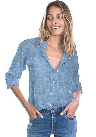 440025ecc54 CAMIXA Womens 100% Linen Button Down Shirt Casual Basic Blouse Pockets Loose  Top XS Blue