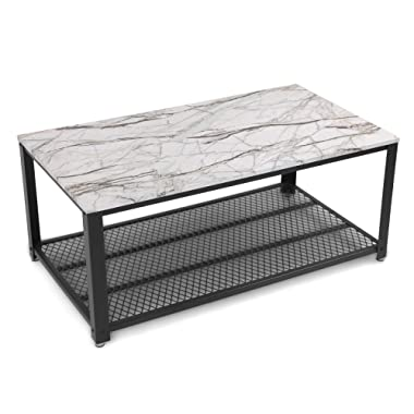 SONGMICS Coffee Table, Cocktail Table Storage Shelf for Living Room, Easy Assembly, Faux Marble ULCT61BW