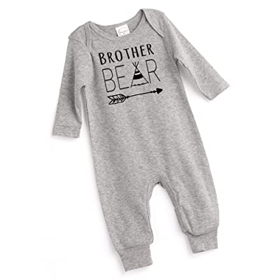 98e6d225339d Tesa Babe Baby Romper in Grey Long Sleeve with Brother Bear Print ...
