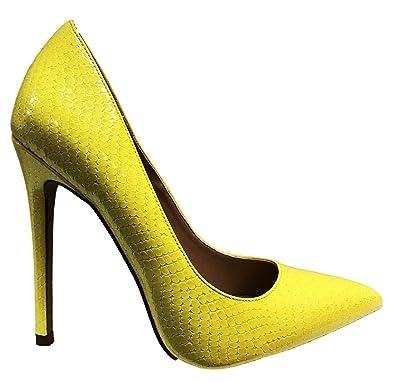 9666fa9bc Amazon.com | Shoe Republic Nimo Shiny Pointy Toe Stiletto High Heel Slip On  Pump Shoes Yellow | Pumps