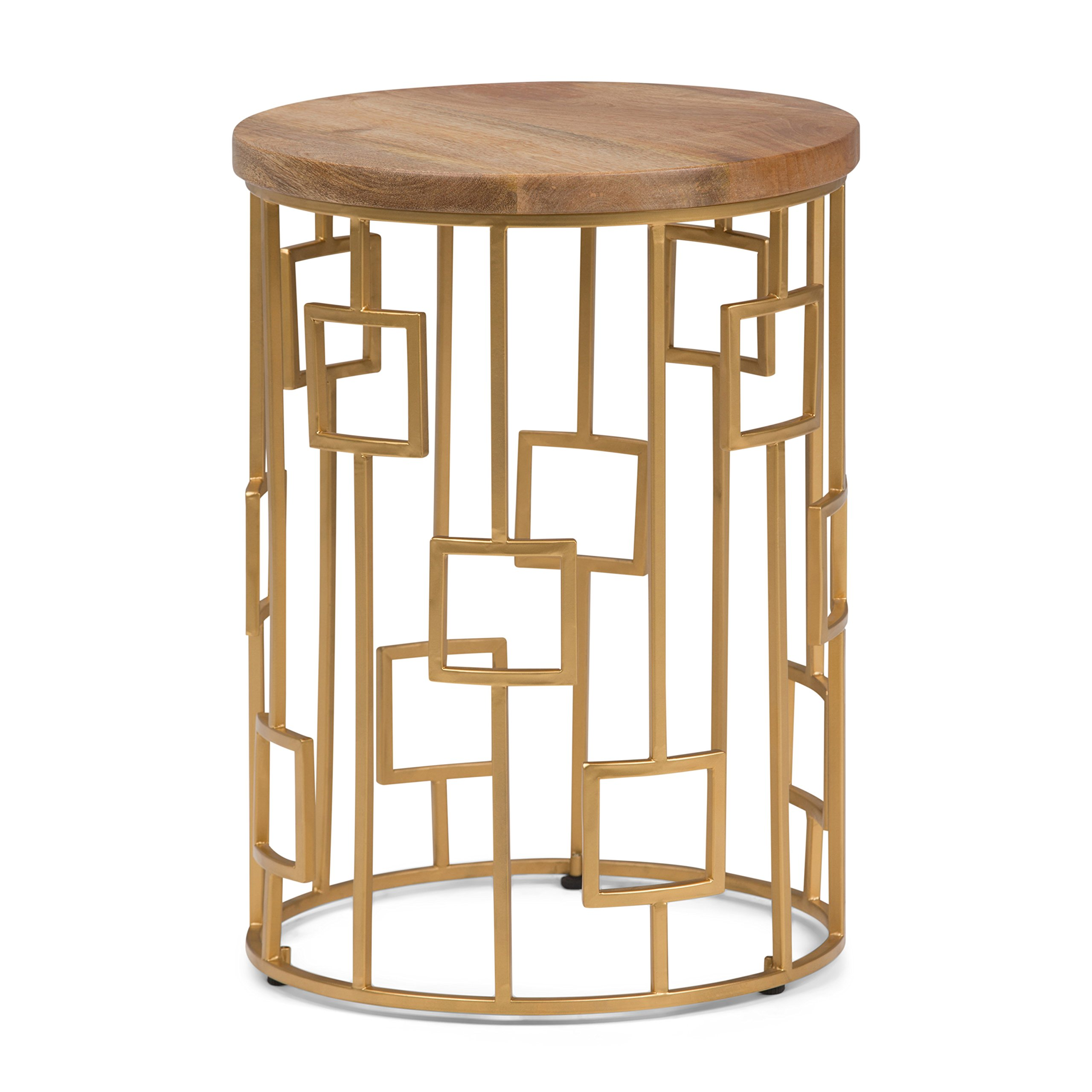 Simpli Home Rhys Metal/Wood Accent Table, Natural and Gold