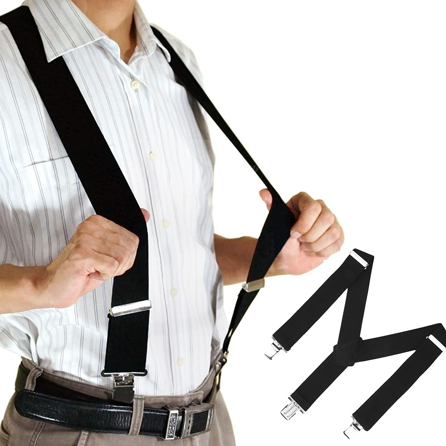 50mm Extra Wide Adjustable Elastic Mens Suspenders Clip-On Braces Trouser New DI