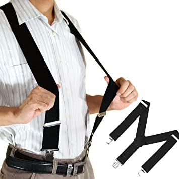 Mens Suspenders Elastic Y-Back Adjustable Belt Braces Clip-On Elastic Braces S