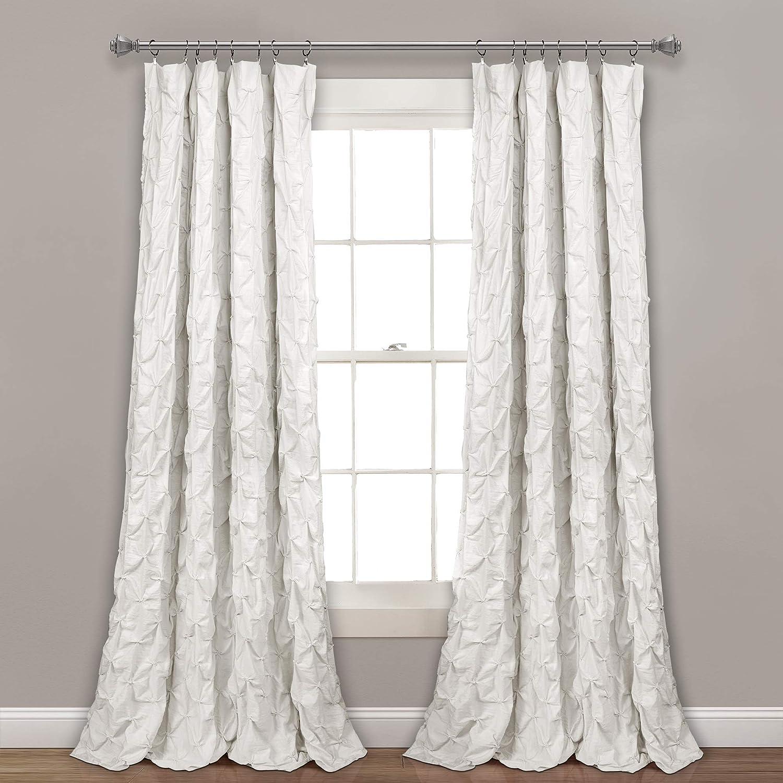 Lush Decor, White Ravello Pintuck Window Curtain Panel, 84
