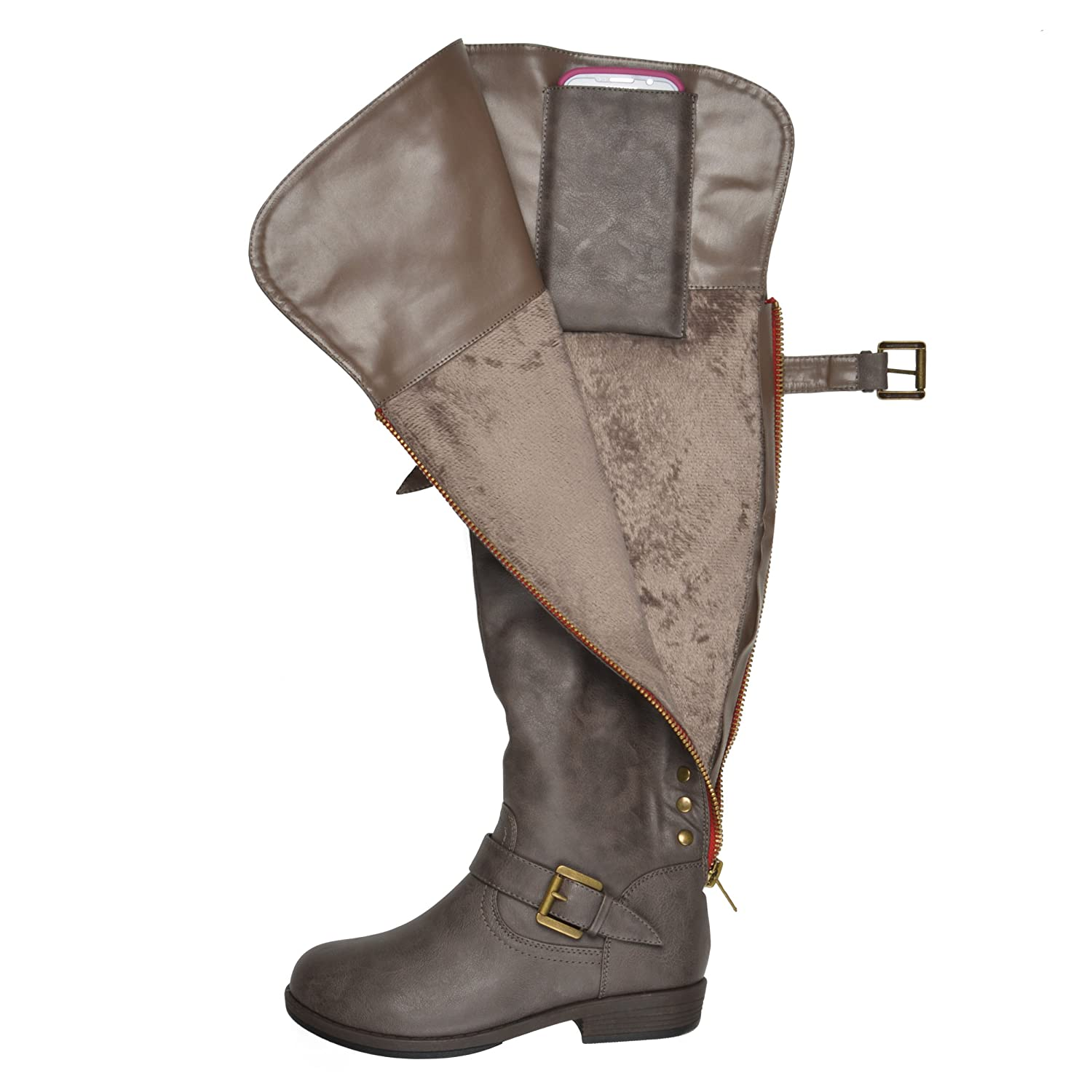 Journee Collection Women's Studded Over-the-knee Inside Pocket Buckle US|Taupe Boots B013X0VUUW 7 B(M) US|Taupe Buckle b1bb74
