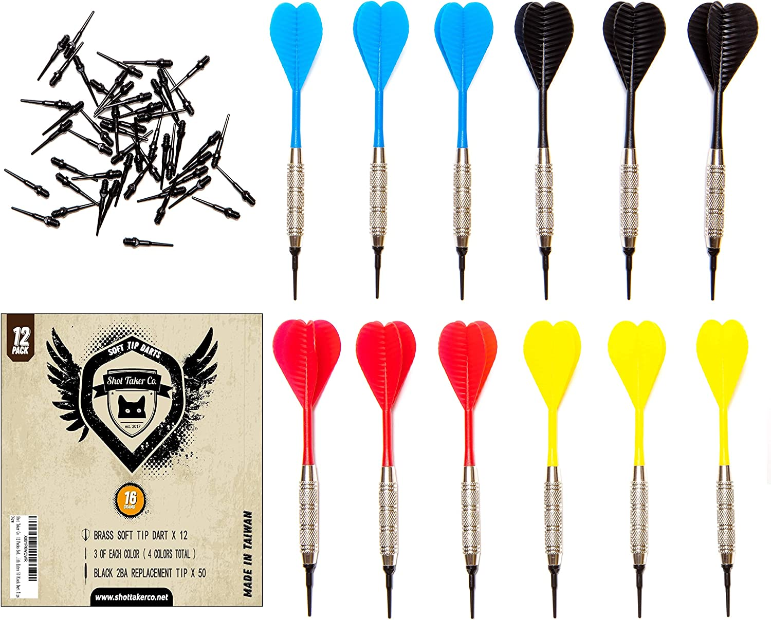 SHOT TAKER CO. EST. 2017 Soft Tip Darts Set |12 pc Bar Darts | 50 Extra Black 2BA Tips | 3 of Each Colour| Perfect Fun Darts for 4 Players on Electronic and Plastic Dartboard