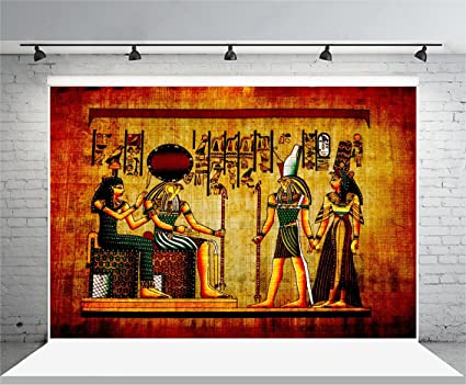 Laeacco 7x5ft Vinyl Photography Background Old Egypt Natural Paper Color Egyptian Mural Pharaoh Drawing Wall Painting Home Decorations Holiday Party