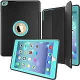 iPad Case, iPad Air 2 Case, SEYMAC Three Layer Drop Protection Rugged Protective Heavy Duty iPad Case with Magnetic Smart Auto Wake / Sleep Cover for Apple iPad Air 2 (Black/Light blue)